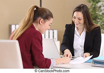contratto, impiegato, o, firmare, cliente