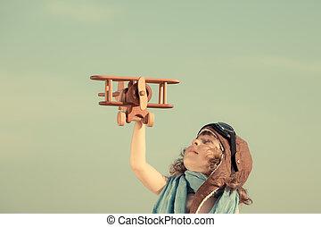 contro, aeroplano, gioco, felice, cielo, estate, giocattolo, bambino