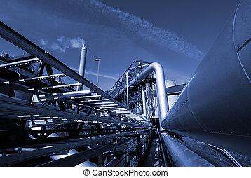 contro, cielo blu, industriale, tono, pipe-bridge, oleodotti