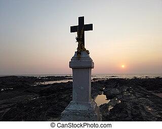 contro, cristiano, croce, mare, sunset., pietre