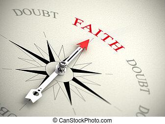 contro, fede, fiducia, concetto, dubbio, religione, o