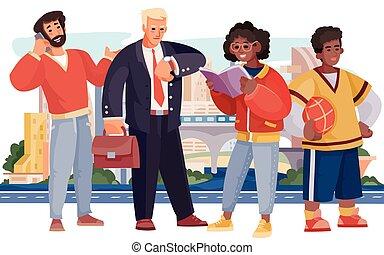 contro, grande, barba, completo, persone, vettore, maglione, palla, città, adolescente, illustrazione, quattro, parlare, telefono, standing, suo, uomo affari, fondo, dall'aspetto, uomo, orologio, lettura ragazza, libro, attesa, rosso