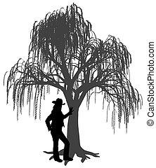 contro, pianto, giovane, sporgente, donna, cappello, albero salice