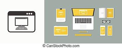 controllo, appartamento, remoto, app, -, vettore, computer, minimo, icona
