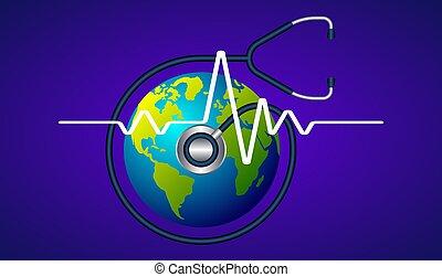 controllo, astratto, stetoscopio, terra, battito cardiaco, fondo