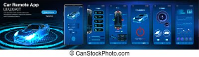 controllo, automobile, app, remoto