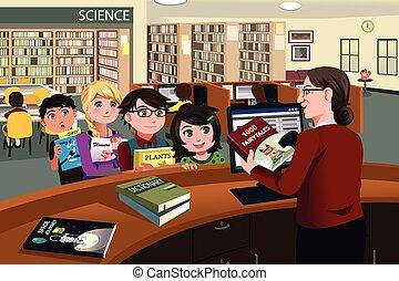controllo, bambini, libri, biblioteca, fuori