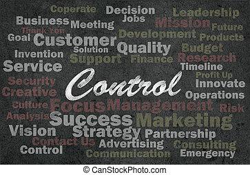 controllo, concetto, parole, affari, relativo, retro, fondo