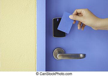 controllo, destra, serratura, mano, accesso, cuscinetto, chiave, presa, scheda