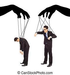 controllo, due, azioni, nero, mani, uomo affari, uggia
