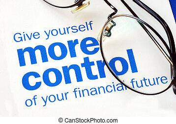 controllo, finanziario, fuoco, futuro, prendere, tuo