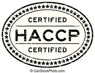controllo, grunge, francobollo, (hazard, analisi, gomma, points), critico, nero, sigillo, ovale, haccp