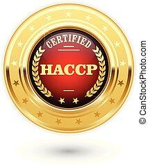 controllo, haccp, -, analisi, critico, azzardo, medaglia, certificato, punti