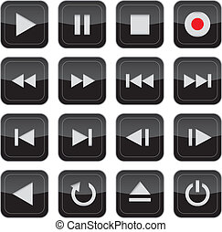 controllo, multimedia, set, lucido, icona