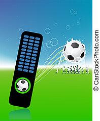controllo, palla, mensola, giocatori football, campo, calcio