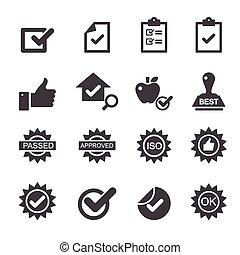 controllo, qualità, icone