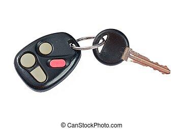 controllo, remoto, automobile, su, chiave, chiudere, bianco, colpo