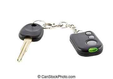 controllo, remoto, chiavi, allarme automobile, sistema, isolato, fondo, bianco, sopra