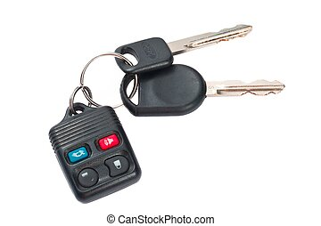 controllo, remoto, chiavi, automobile, su, plastica, chiudere, bianco, colpo