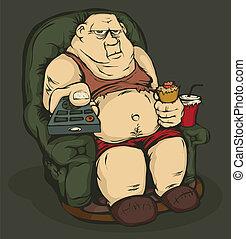 controllo, remoto, uomo grasso