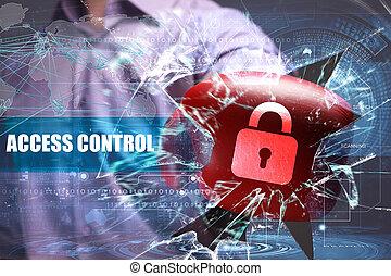 controllo, rete, affari, accesso, security., tecnologia internet