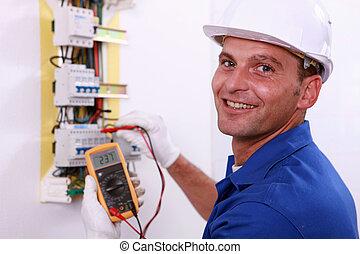 controllo, scatola, fusibile, elettricista