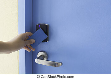 controllo, serratura, mano, accesso, cuscinetto, chiave, tocco, presa, elettronico, scheda, sinistra