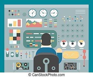 controllo, sviluppo, concetto, appartamento, studio, lavoro, analisi, scienziato, produzione, disegno, illustrazione, fronte, uomo affari, pannello