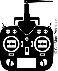 controllo, trasmettitore, remoto, vettore, nero, rc, icona