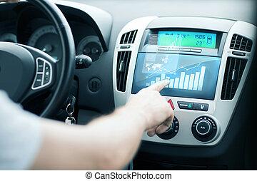 controllo, usando, uomo, automobile, pannello