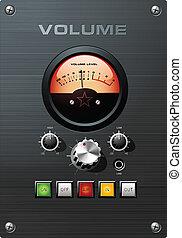controllo volume, indicatore, vu, analogico