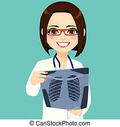controllo, xray, dottore femmina