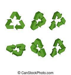 conversione, set, elaborazione, simbolo, riciclaggio, triangolare, segno, arrow., isometrics., verde, 3d., icona