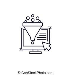 conversione, tasso, vendite, imbuto, icona, optimization