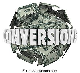 conversions, palla, parola, reddito, profitto, soldi, vendite, grande