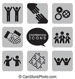 cooperazione, icone, monocromatico