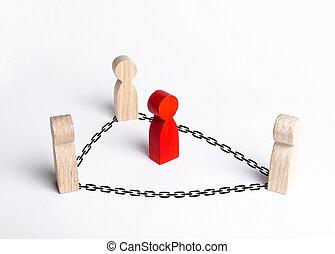 cooperazione, neutralizzare, custodia, presa, collaboration., pubblico, criminale, corruzione, persone, prigione, lotta, custodire, uomo, chains., offender., control., rosso, circondato