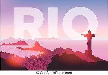 copacabana, spiaggia., city., statua, janeiro, sopra, de, cielo, illustrazione, rio, vettore, tramonto, sopra, brasiliano, skyline., albe