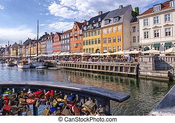 copenaghen, colorito, nyhavn, danimarca, lucchetti, costruzioni
