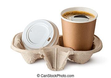 coperchio, portar via, aperto, holder., near., caffè