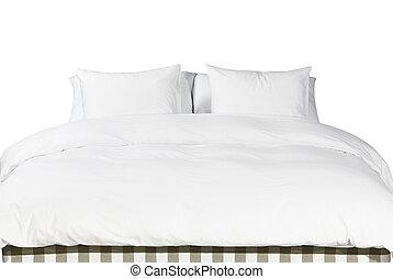 coperta, bianco, cuscini, letto