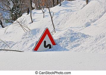 coperto, neve, segno strada