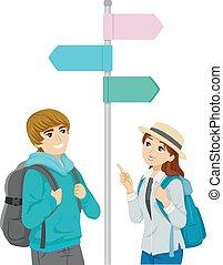 coppia adolescente, viaggiare, illustrazione, amico