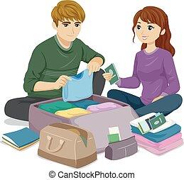 coppia adolescente, viaggiare, illustrazione, pacco