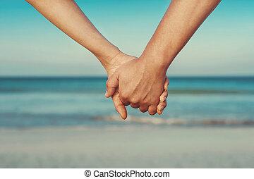 coppia, amanti, tenere mani