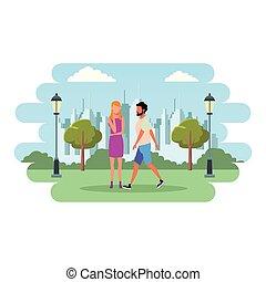 coppia, amore, cartone animato