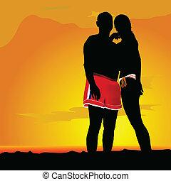 coppia, amore, illustrazione