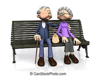 coppia anziana, cartone animato, bench.