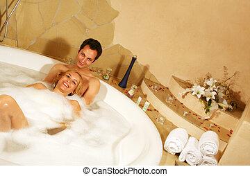 coppia, bagno