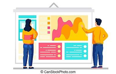 coppia, break., durante, comunicare, management., colorito, affari, fondo, dall'aspetto, colleghi